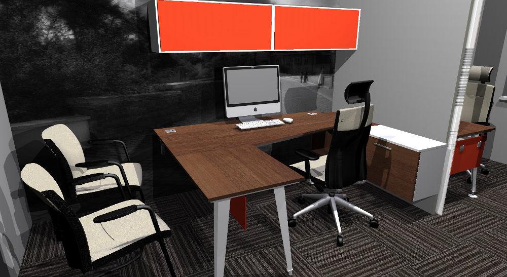 Projekt biura z wydzielona przestrzenią dla pracownika i klientów