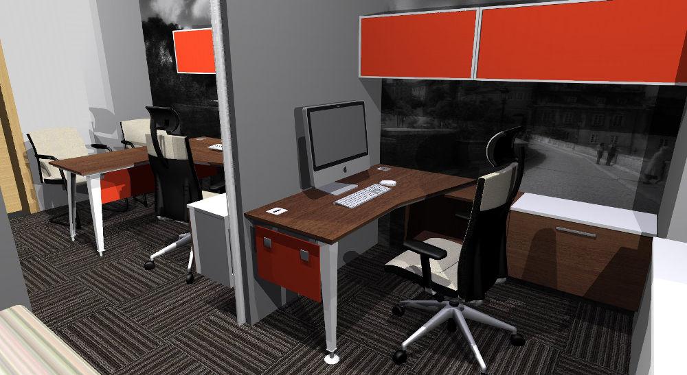 Projekt biura ze stanowiskiem pracy