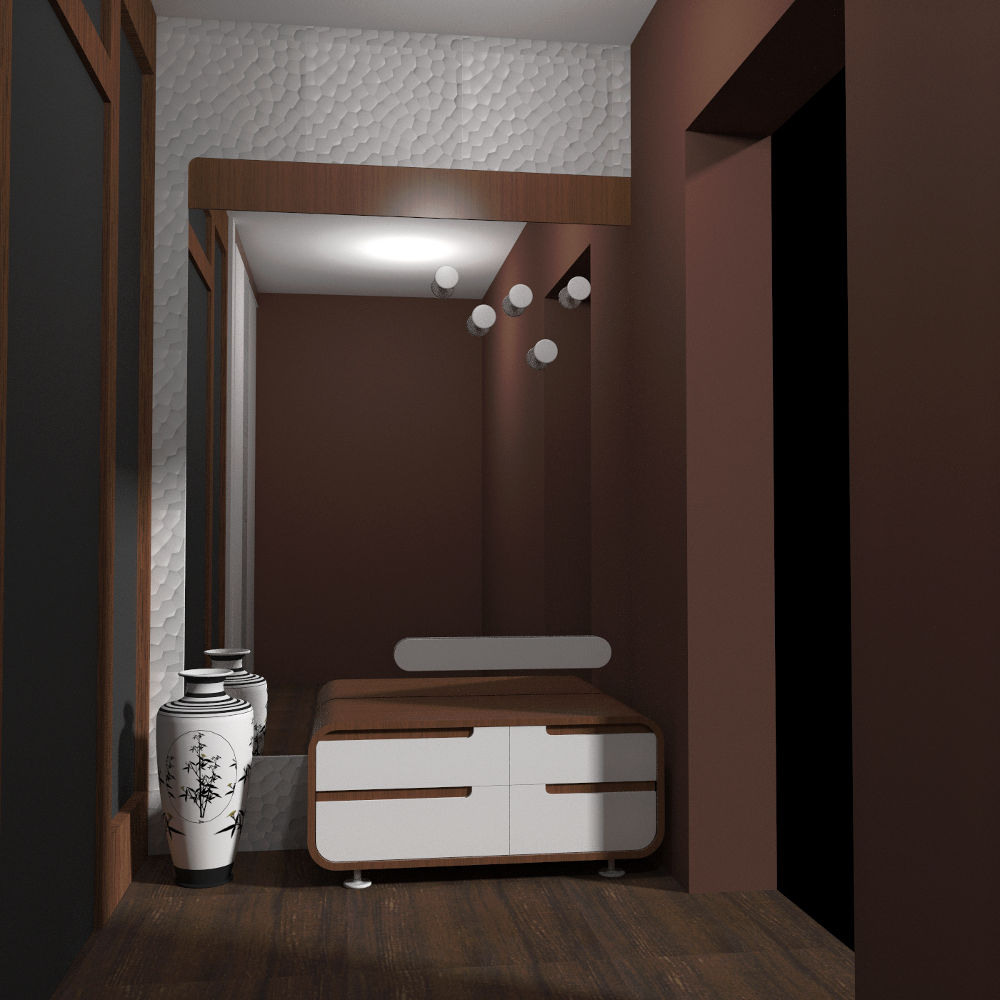 Projekt koncepcyjny sieni w odcieniach brązu