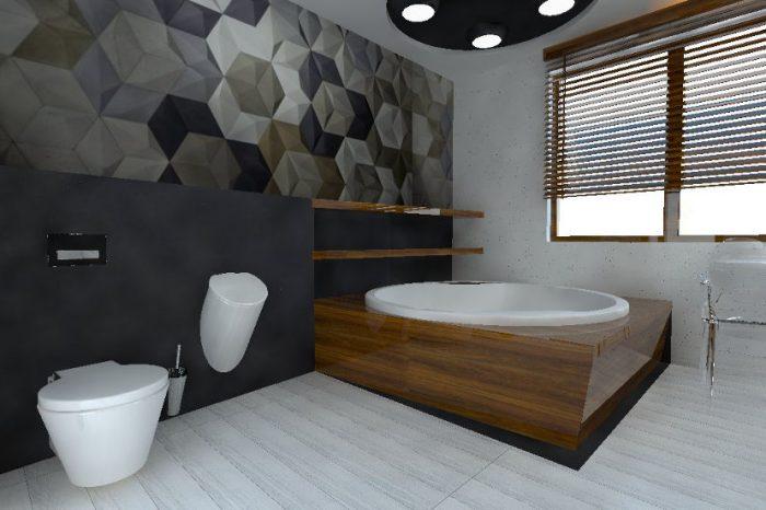 Projekt nowoczesnej łazienki z drewnianymi elementami, wanną narożną