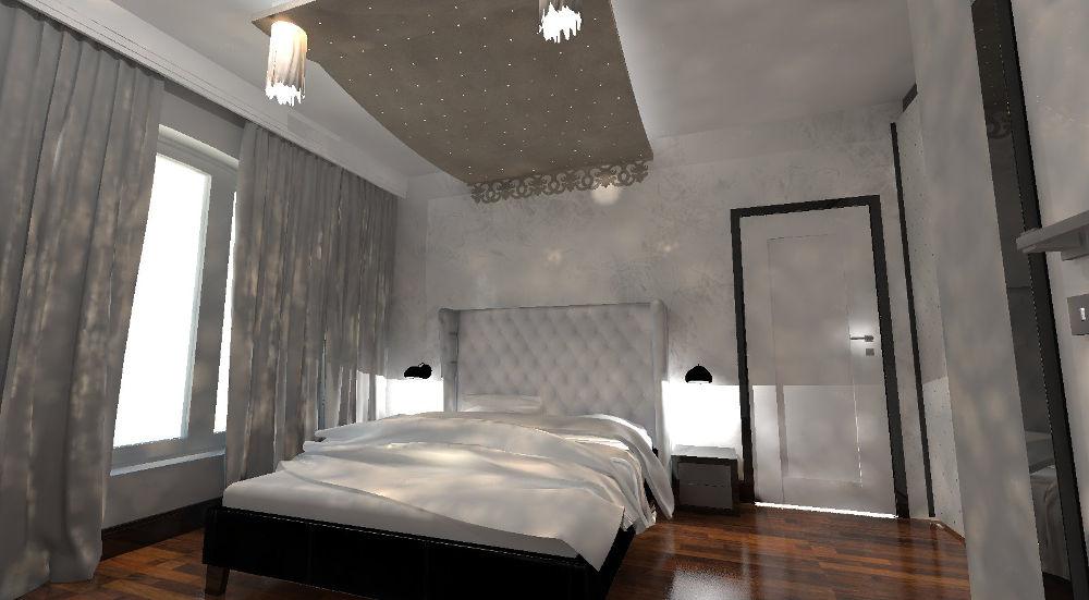 Projekt nowoczesnej sypialni z podwieszanym sufitem