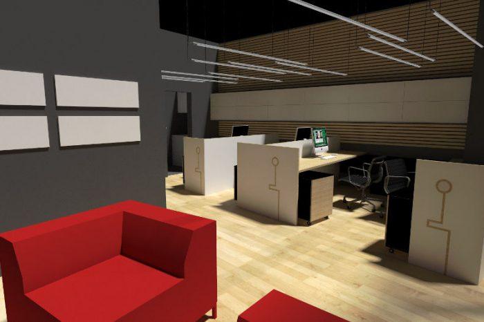 Projekt nowoczesnego biura z przestrzenią dla gości