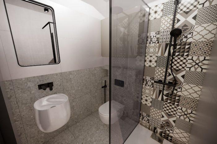 Projekt małej łazienki w bloku z kabiną prysznicową i wzorzystymi płytkami