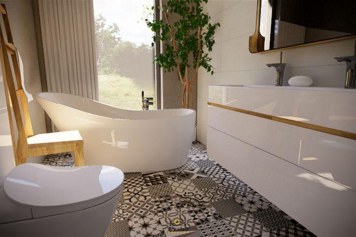 Projekt nowoczesnej łazienki z wanną