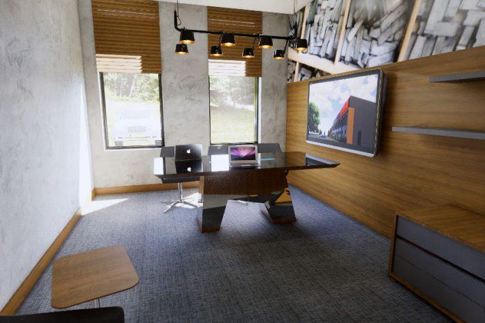 Projekt nowoczesnego biura z eleganckim wykończeniem