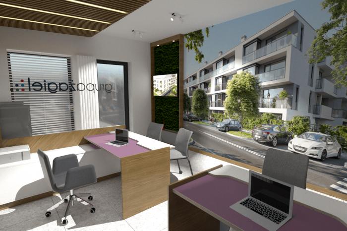 Projekt biura sprzedaży Żagiel Dom w Lublinie