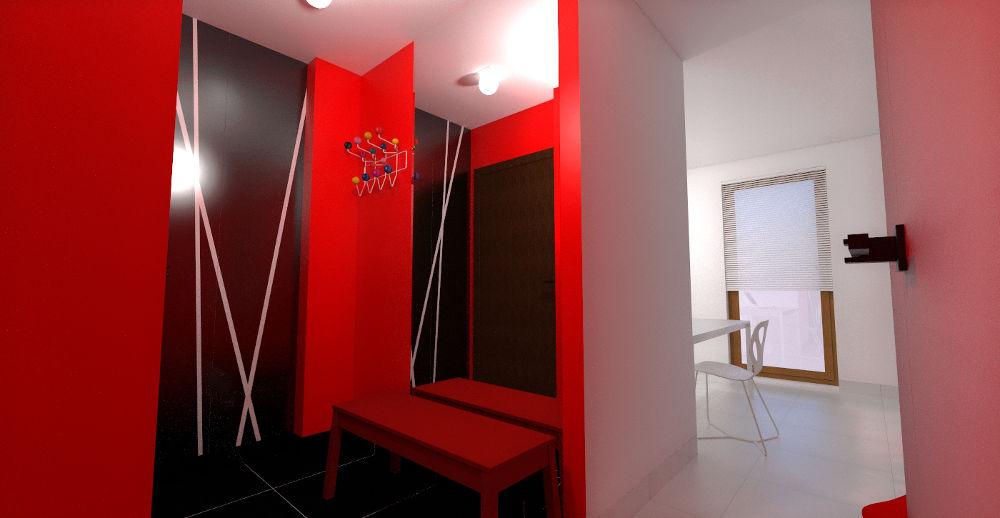 Projekt koncepcyjny sieni w odcieniach czerwieni
