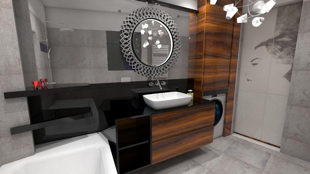 Projekt łazienki z oryginalnym lustrem łazienkowym