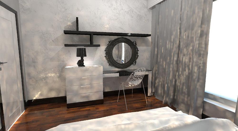 Projekt sypialni pokoju hotelowego