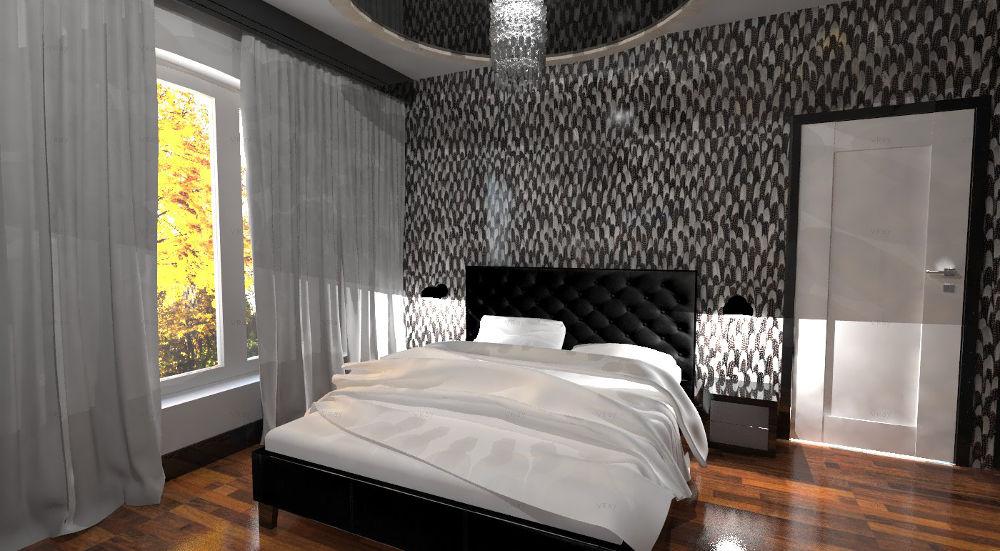 Projekt nowoczesnej sypialni w odcieniach szarości i drewnianą podłogą