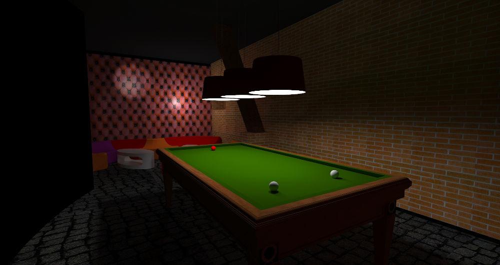 Projekt koncepcyjny klubu nocnego ze stołem bilardowym