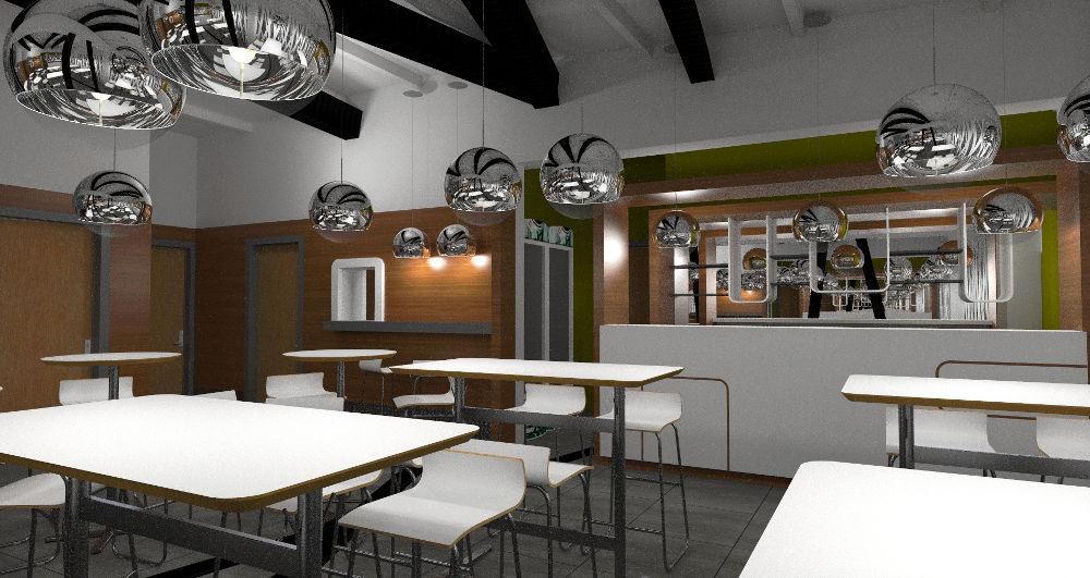 Wizualizacja restauracji z barem