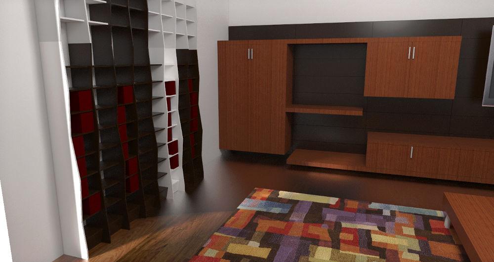 Projekt koncepcyjny salonu z meblościanką