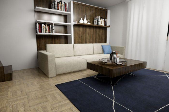 Projekt rozkładanej kanapy w salonie