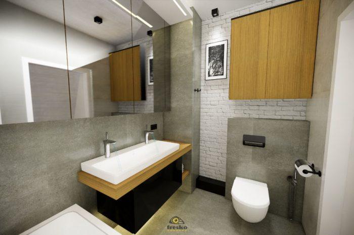 Projekt dużeł łazienki z dużym lustrem