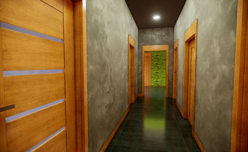 Projekt korytarza w biurze