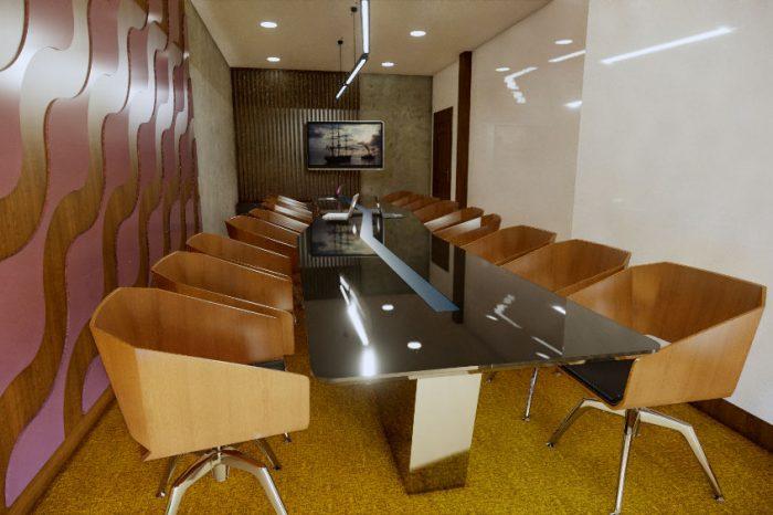 Projekt sali konferencyjnej, fotele w zabudowie