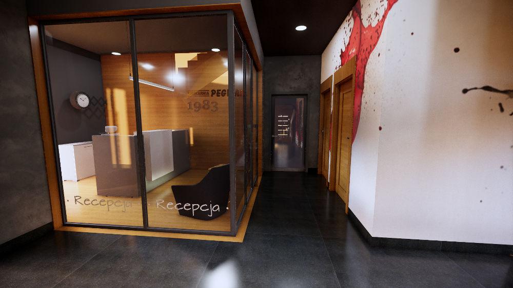 Projekt korytarza w biurze z przeszkolonym pomieszczeniem