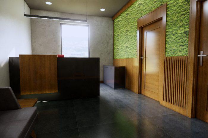Wizualizacja całości pomieszczenia sekretariatu
